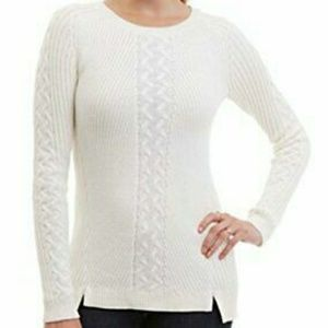 Nautica white ribbed cable knit tunic sweater